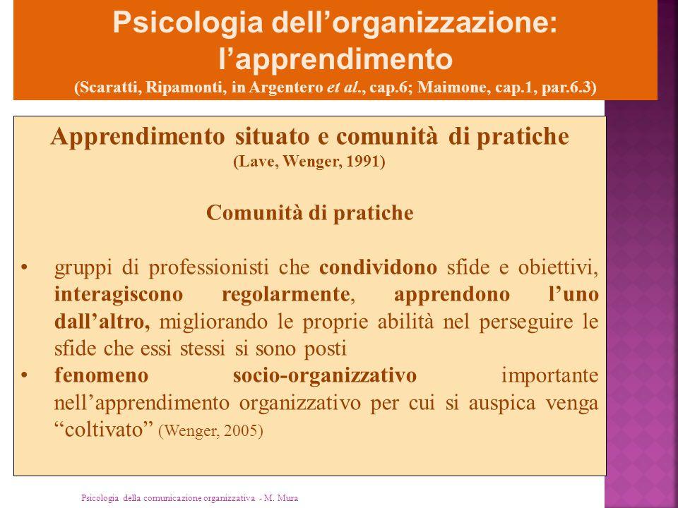 Psicologia della comunicazione organizzativa - M. Mura Psicologia dell'organizzazione: l'apprendimento (Scaratti, Ripamonti, in Argentero et al., cap.