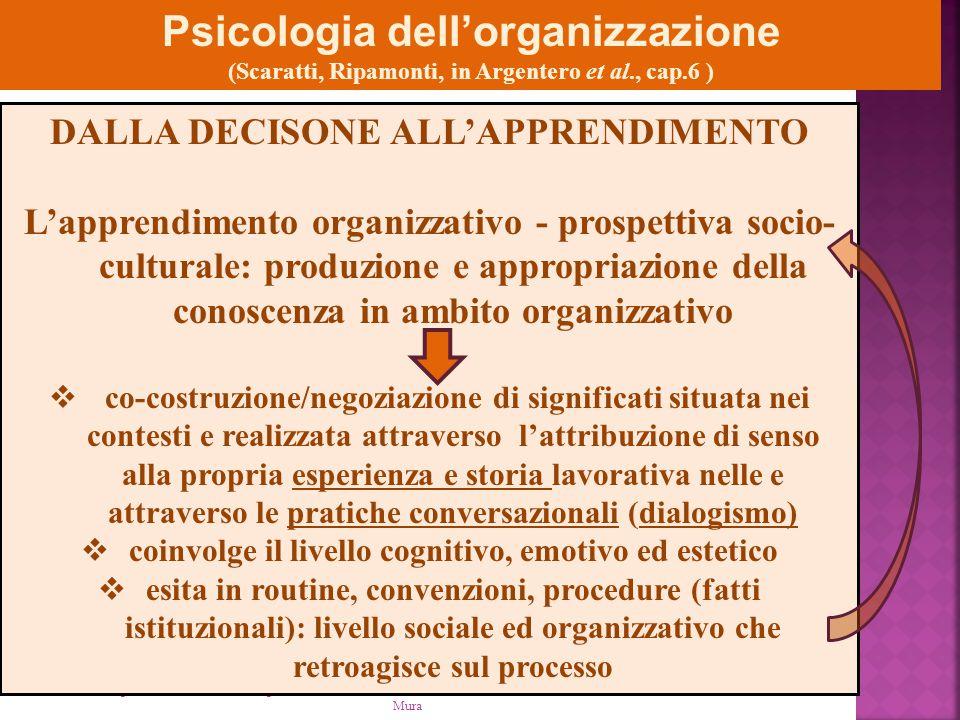 Psicologia della comunicazione organizzativa AA 2012-13 - M. Mura Psicologia dell'organizzazione (Scaratti, Ripamonti, in Argentero et al., cap.6 ) DA