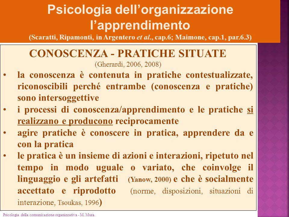 Psicologia della comunicazione organizzativa - M. Mura Psicologia dell'organizzazione l'apprendimento (Scaratti, Ripamonti, in Argentero et al., cap.6