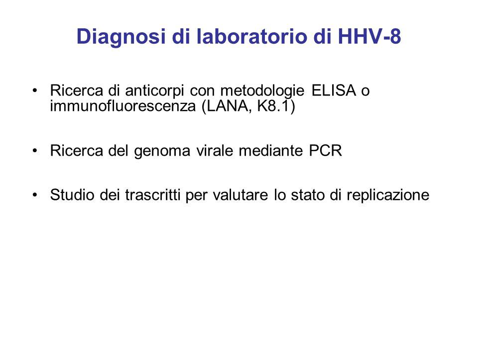Diagnosi di laboratorio di HHV-8 Ricerca di anticorpi con metodologie ELISA o immunofluorescenza (LANA, K8.1) Ricerca del genoma virale mediante PCR Studio dei trascritti per valutare lo stato di replicazione