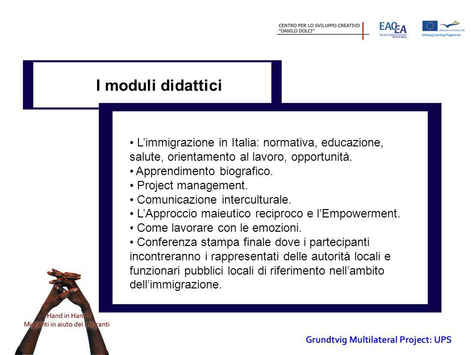 I moduli didattici L'immigrazione in Italia: normativa, educazione, salute, orientamento al lavoro, opportunità.