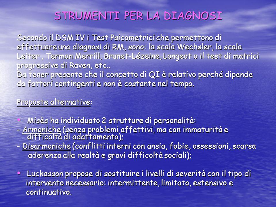 STRUMENTI PER LA DIAGNOSI Secondo il DSM IV i Test Psicometrici che permettono di effettuare una diagnosi di RM, sono: la scala Wechsler, la scala Leiter, Terman Merrill, Brunet-Lézeine, Longeot o il test di matrici progressive di Raven, etc..