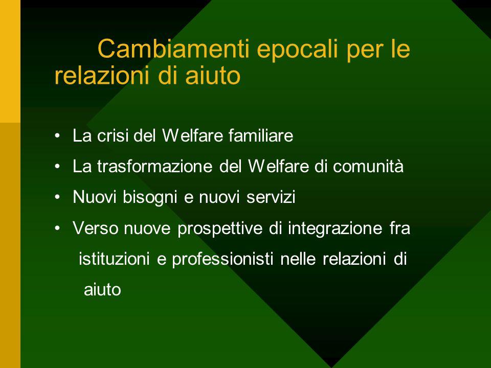Cambiamenti epocali per le relazioni di aiuto La crisi del Welfare familiare La trasformazione del Welfare di comunità Nuovi bisogni e nuovi servizi V