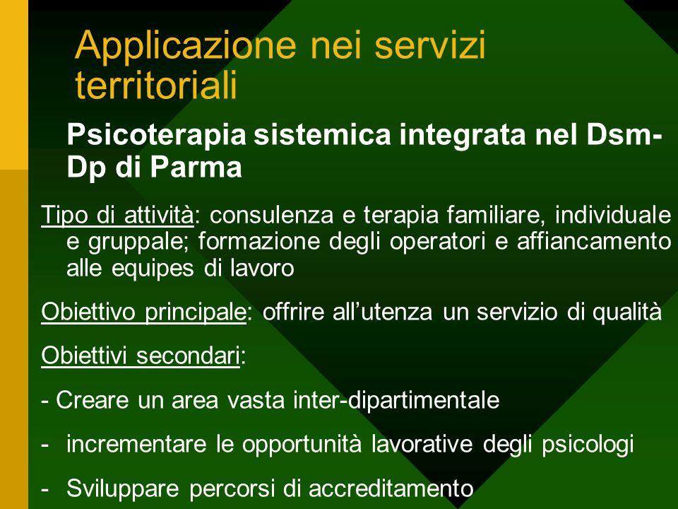Applicazione nei servizi territoriali Psicoterapia sistemica integrata nel Dsm- Dp di Parma Tipo di attività: consulenza e terapia familiare, individu