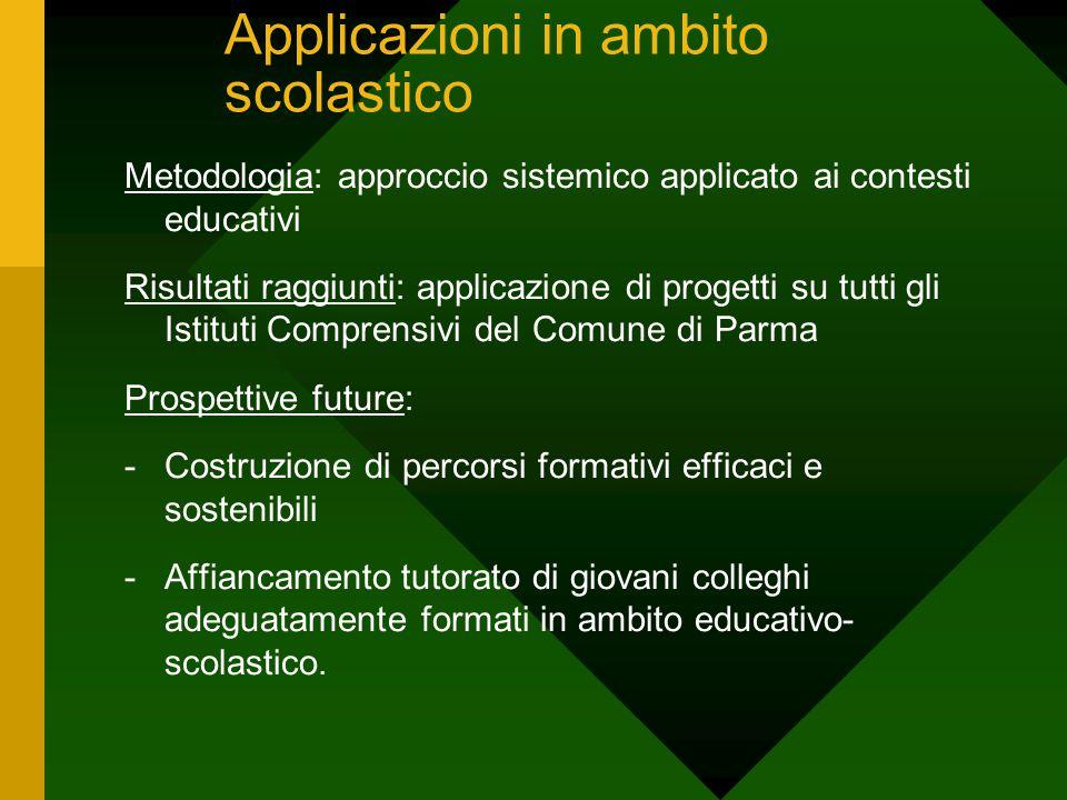 Applicazioni in ambito scolastico Metodologia: approccio sistemico applicato ai contesti educativi Risultati raggiunti: applicazione di progetti su tu