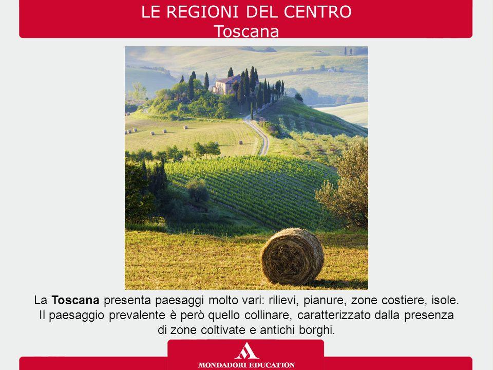 La Toscana presenta paesaggi molto vari: rilievi, pianure, zone costiere, isole. Il paesaggio prevalente è però quello collinare, caratterizzato dalla