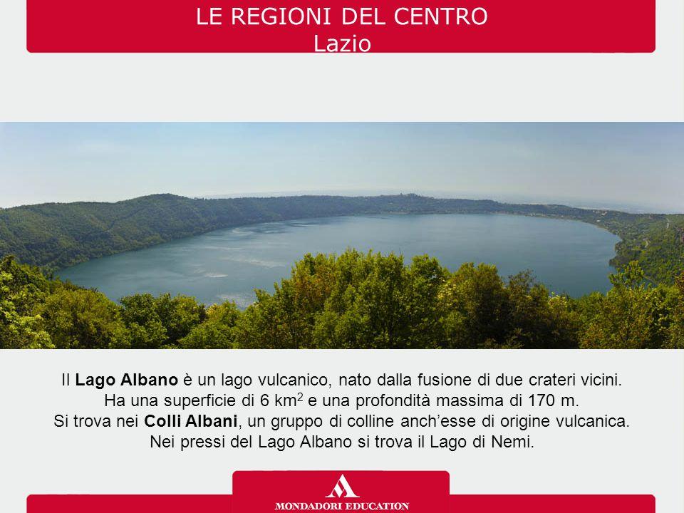 Il Lago Albano è un lago vulcanico, nato dalla fusione di due crateri vicini. Ha una superficie di 6 km 2 e una profondità massima di 170 m. Si trova