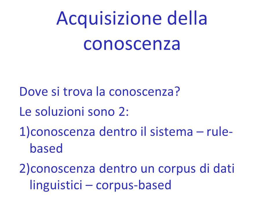 Acquisizione della conoscenza Dove si trova la conoscenza? Le soluzioni sono 2: 1)conoscenza dentro il sistema – rule- based 2)conoscenza dentro un co