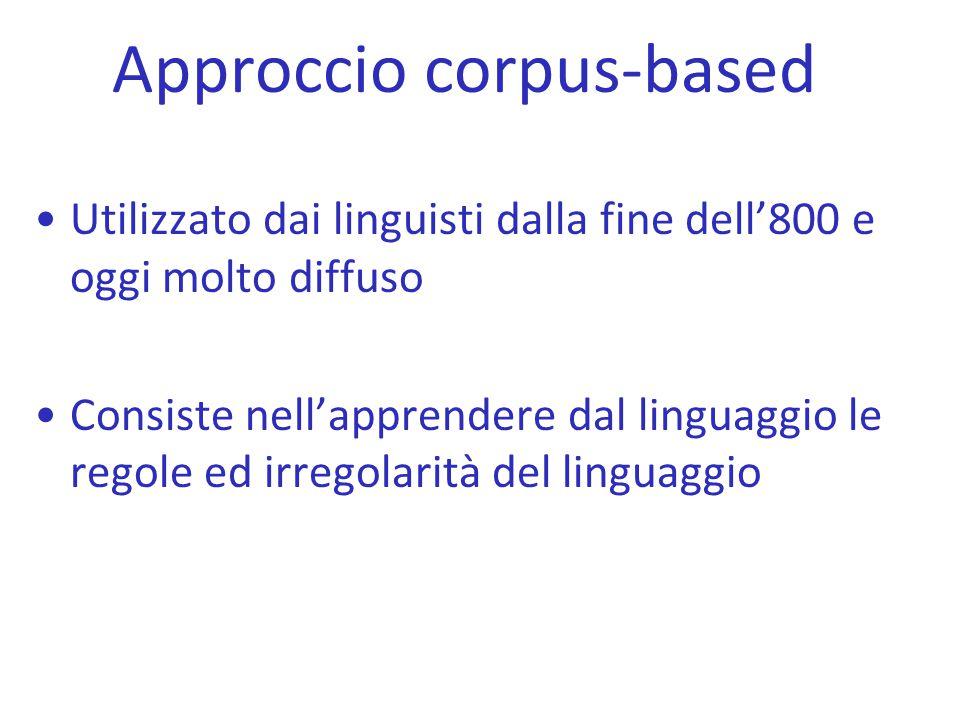 Approccio corpus-based Utilizzato dai linguisti dalla fine dell'800 e oggi molto diffuso Consiste nell'apprendere dal linguaggio le regole ed irregola
