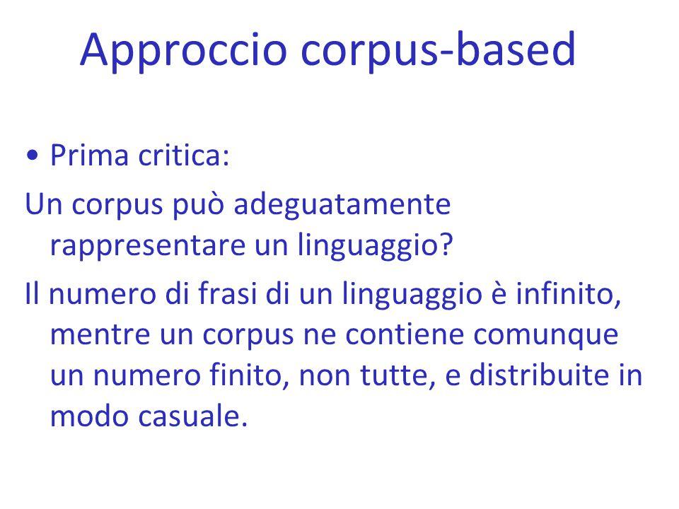 Approccio corpus-based Prima critica: Un corpus può adeguatamente rappresentare un linguaggio? Il numero di frasi di un linguaggio è infinito, mentre