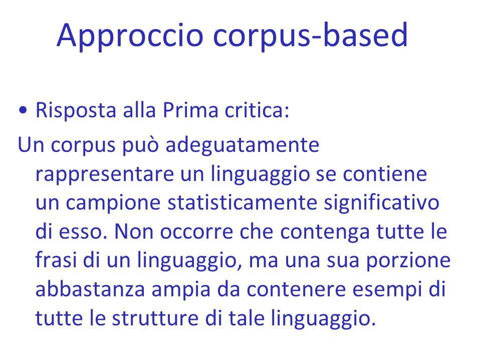 Approccio corpus-based Risposta alla Prima critica: Un corpus può adeguatamente rappresentare un linguaggio se contiene un campione statisticamente si