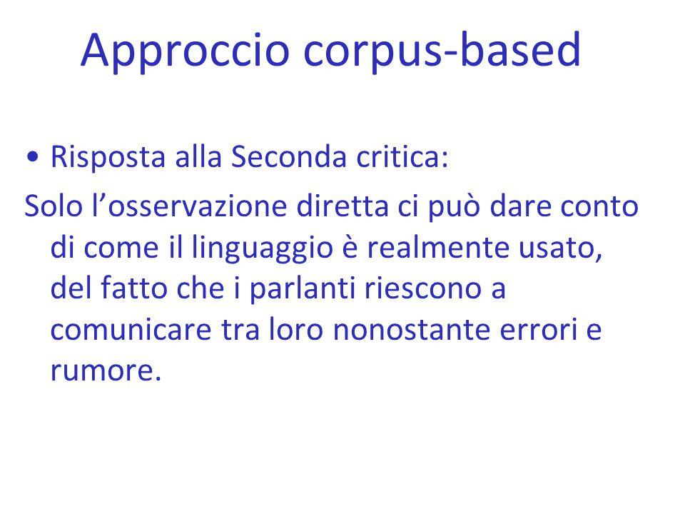 Approccio corpus-based Risposta alla Seconda critica: Solo l'osservazione diretta ci può dare conto di come il linguaggio è realmente usato, del fatto
