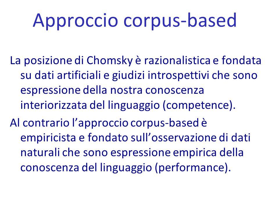 Approccio corpus-based La posizione di Chomsky è razionalistica e fondata su dati artificiali e giudizi introspettivi che sono espressione della nostr