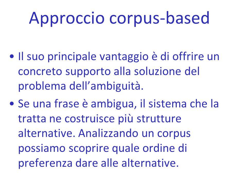 Approccio corpus-based Il suo principale vantaggio è di offrire un concreto supporto alla soluzione del problema dell'ambiguità. Se una frase è ambigu