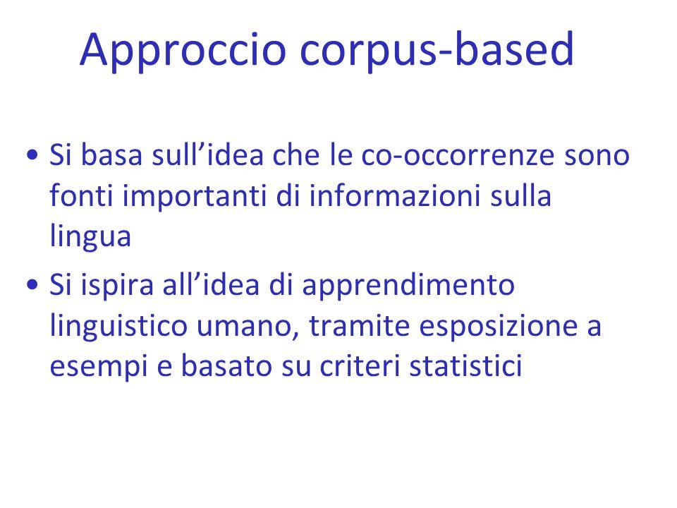 Approccio corpus-based Si basa sull'idea che le co-occorrenze sono fonti importanti di informazioni sulla lingua Si ispira all'idea di apprendimento l