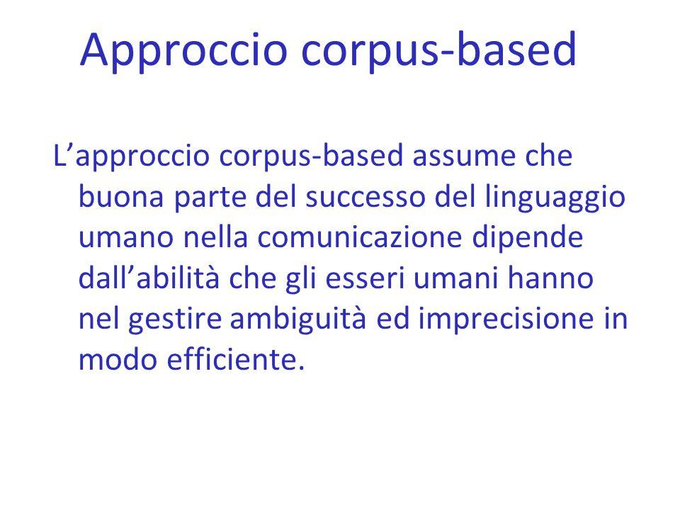 Approccio corpus-based L'approccio corpus-based assume che buona parte del successo del linguaggio umano nella comunicazione dipende dall'abilità che