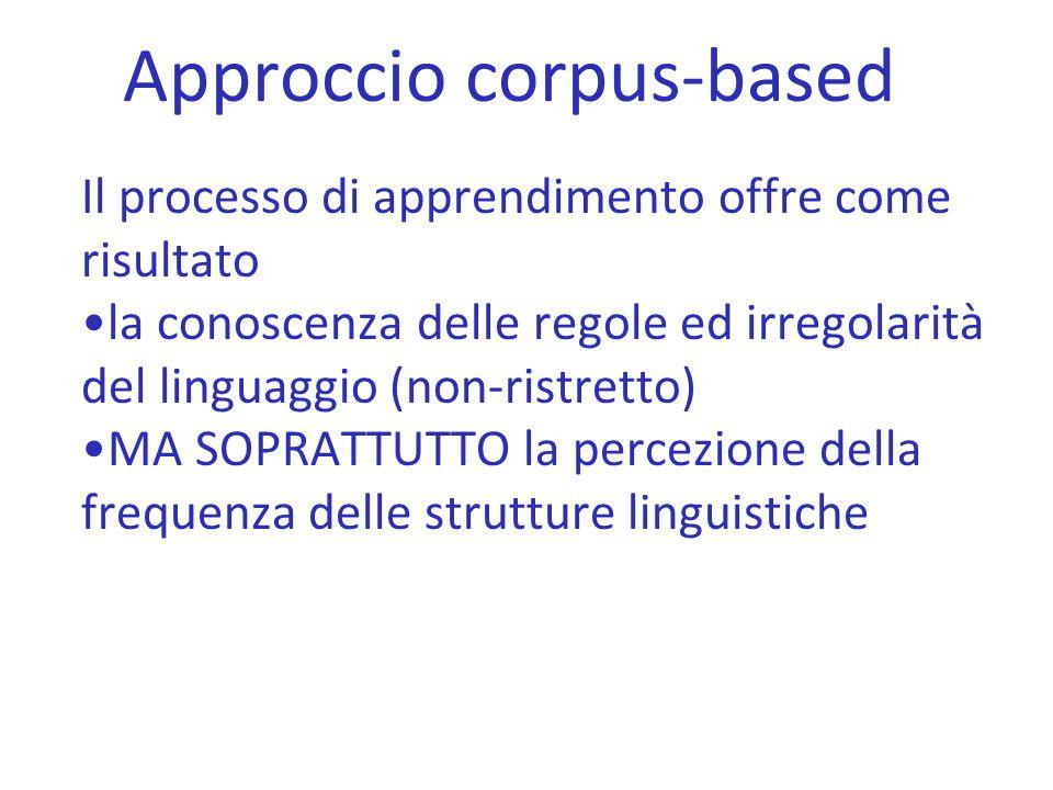 Approccio corpus-based Il processo di apprendimento offre come risultato la conoscenza delle regole ed irregolarità del linguaggio (non-ristretto) MA
