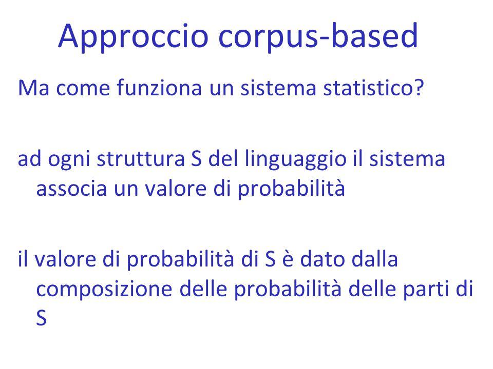 Approccio corpus-based Ma come funziona un sistema statistico? ad ogni struttura S del linguaggio il sistema associa un valore di probabilità il valor