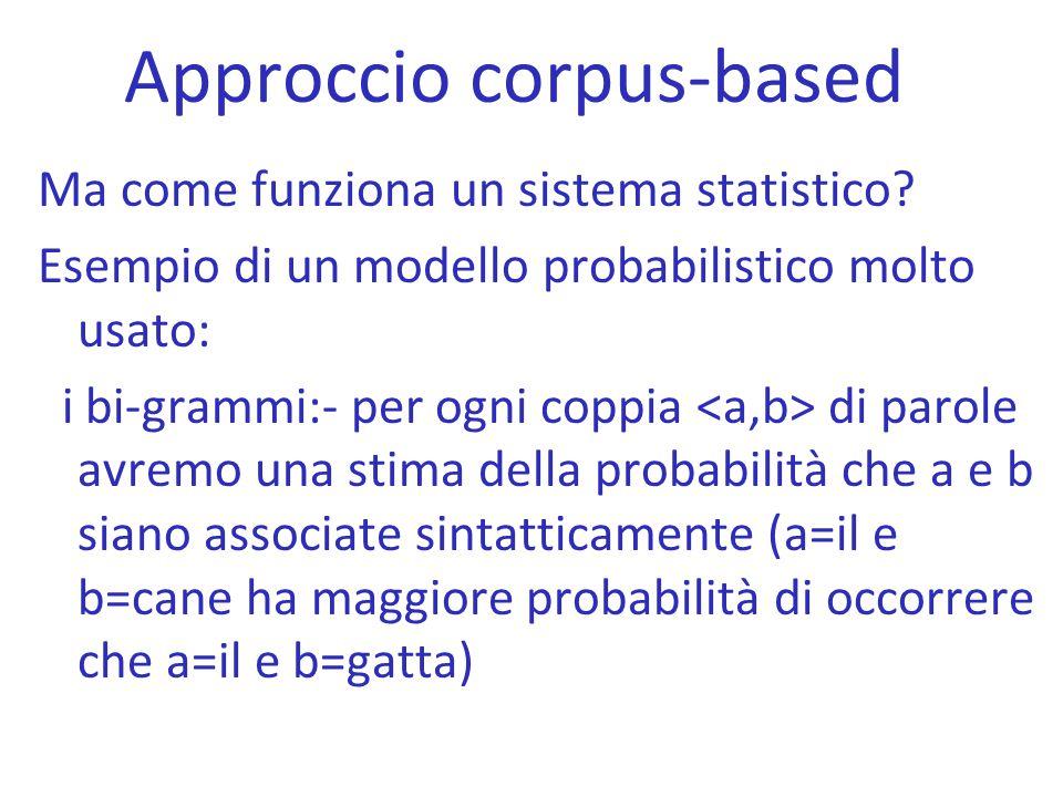 Approccio corpus-based Ma come funziona un sistema statistico? Esempio di un modello probabilistico molto usato: i bi-grammi:- per ogni coppia di paro