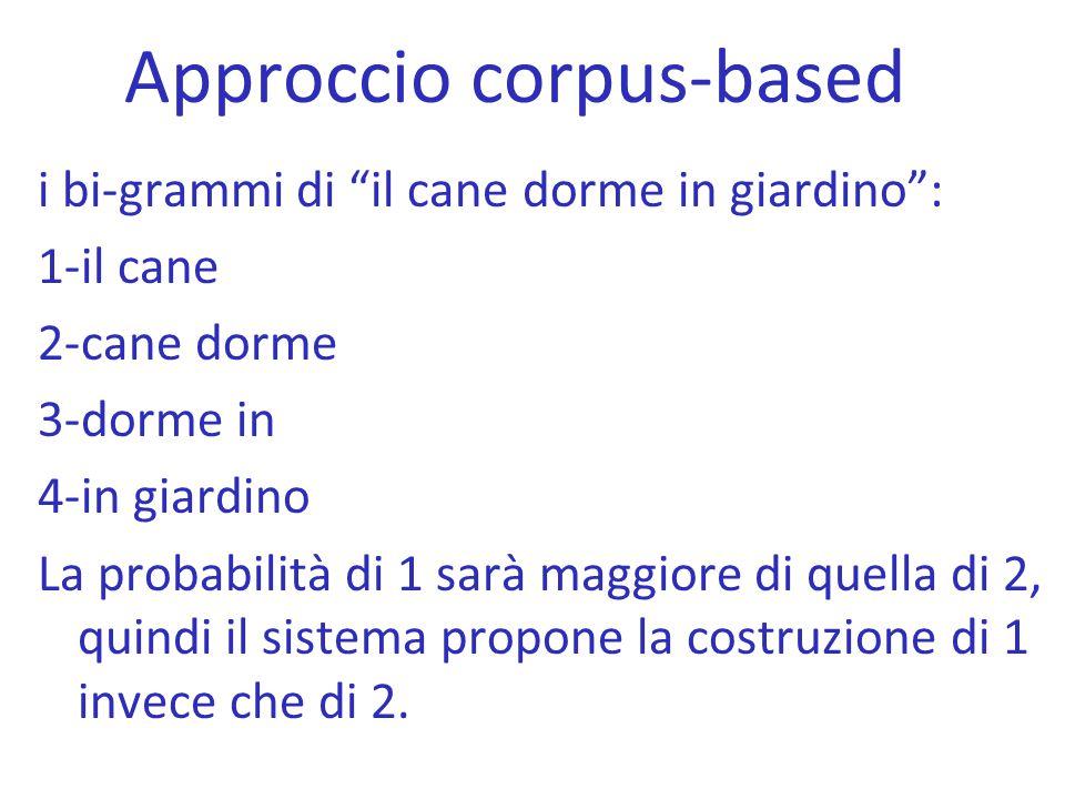 """Approccio corpus-based i bi-grammi di """"il cane dorme in giardino"""": 1-il cane 2-cane dorme 3-dorme in 4-in giardino La probabilità di 1 sarà maggiore d"""