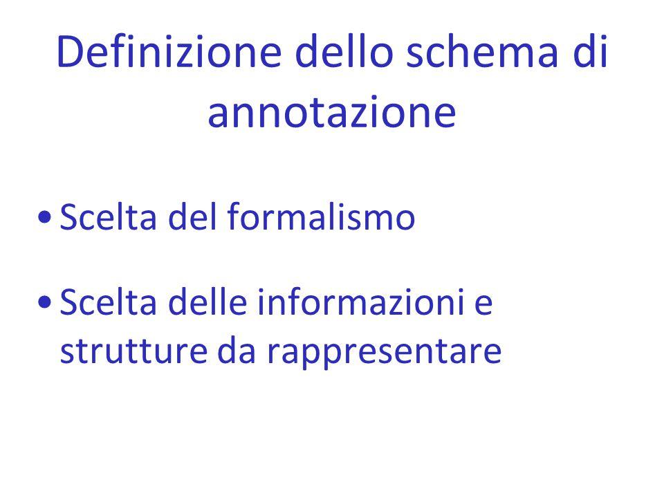 Definizione dello schema di annotazione Scelta del formalismo Scelta delle informazioni e strutture da rappresentare