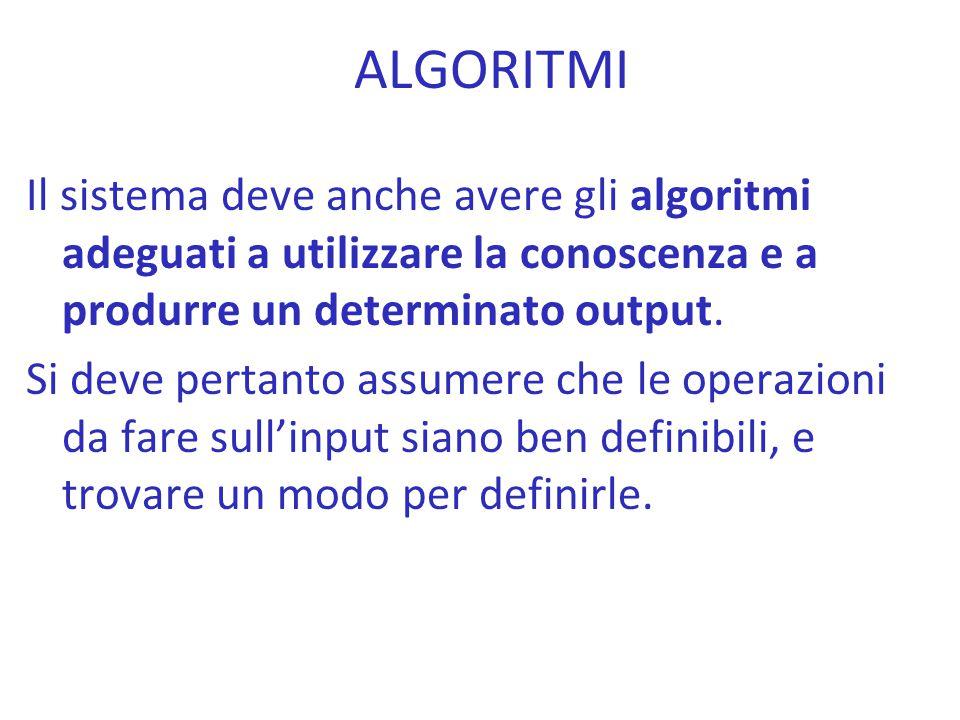 Il sistema deve anche avere gli algoritmi adeguati a utilizzare la conoscenza e a produrre un determinato output. Si deve pertanto assumere che le ope