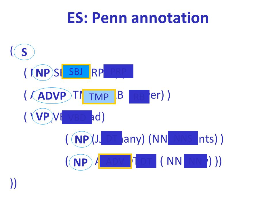 ES: Penn annotation ( S ( NP - SBJ (PRP I) ) ( ADVP - TMP ( RB never) ) ( VP (VBD had) ( NP (JJ many) (NNS clients) ) ( NP - ADV (DT a) ( NN day) )) )