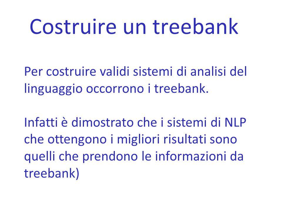 Costruire un treebank Per costruire validi sistemi di analisi del linguaggio occorrono i treebank. Infatti è dimostrato che i sistemi di NLP che otten