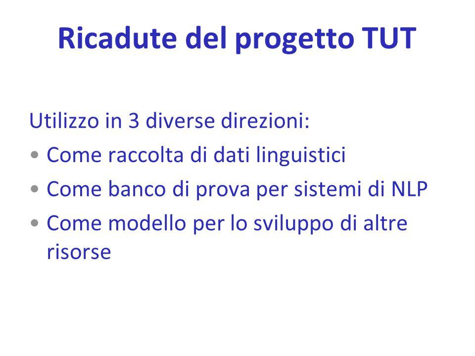 Ricadute del progetto TUT Utilizzo in 3 diverse direzioni: Come raccolta di dati linguistici Come banco di prova per sistemi di NLP Come modello per l