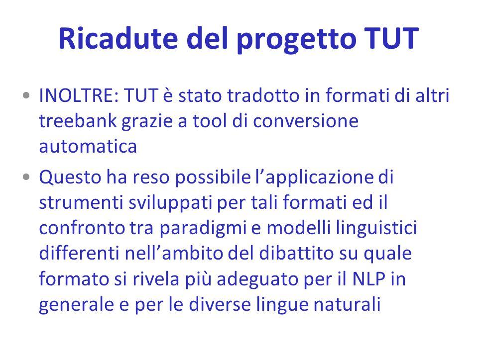 INOLTRE: TUT è stato tradotto in formati di altri treebank grazie a tool di conversione automatica Questo ha reso possibile l'applicazione di strument