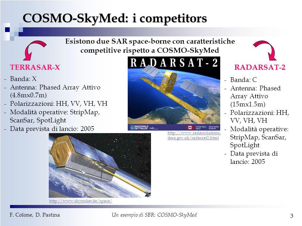 F. Colone, D. Pastina Un esempio di SBR: COSMO-SkyMed 3 COSMO-SkyMed: i competitors Esistono due SAR space-borne con caratteristiche competitive rispe