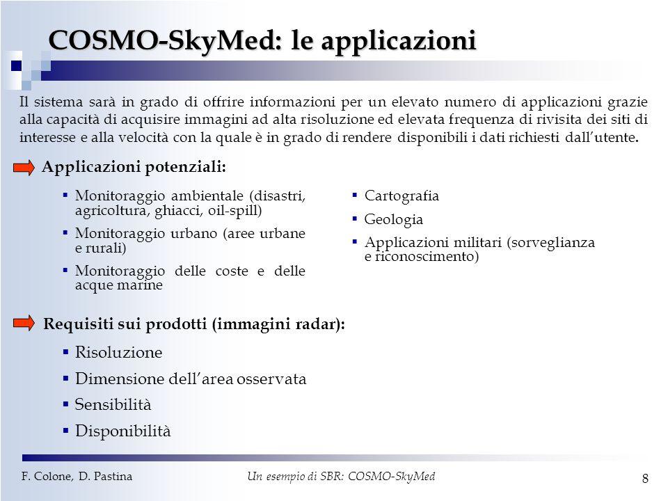 F. Colone, D. Pastina Un esempio di SBR: COSMO-SkyMed 8 COSMO-SkyMed: le applicazioni  Monitoraggio ambientale (disastri, agricoltura, ghiacci, oil-s