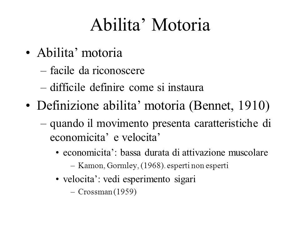 Abilita' Motoria Abilita' motoria –facile da riconoscere –difficile definire come si instaura Definizione abilita' motoria (Bennet, 1910) –quando il movimento presenta caratteristiche di economicita' e velocita' economicita': bassa durata di attivazione muscolare –Kamon, Gormley, (1968).