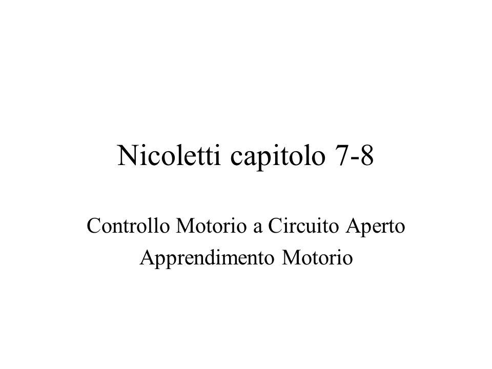 Nicoletti capitolo 7-8 Controllo Motorio a Circuito Aperto Apprendimento Motorio