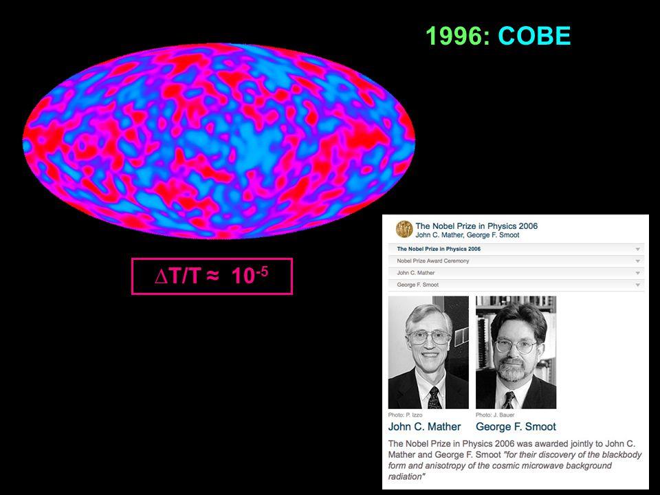 ∆T/T ≈ 10 -5 1996: COBE