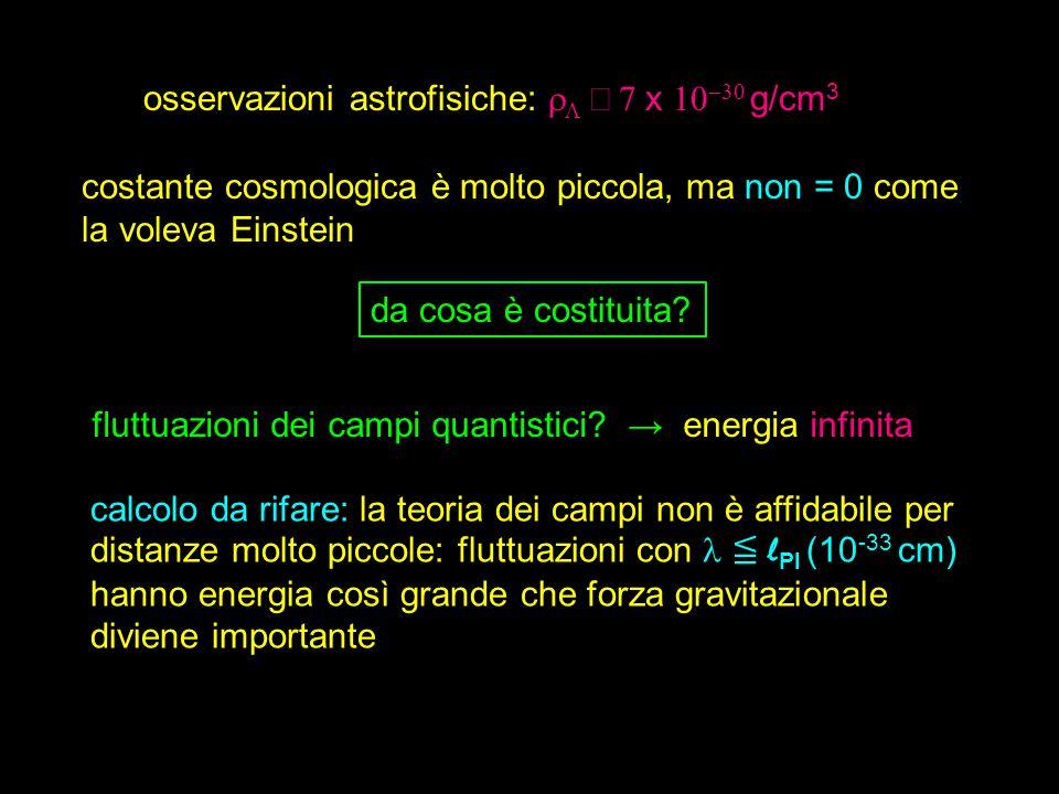 osservazioni astrofisiche:    x   g/cm 3 costante cosmologica è molto piccola, ma non = 0 come la voleva Einstein da cosa è costituita.