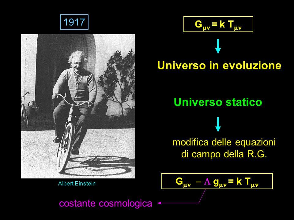 Universo statico Albert Einstein Universo in evoluzione G  = k T  G   g  = k T  modifica delle equazioni di campo della R.G.
