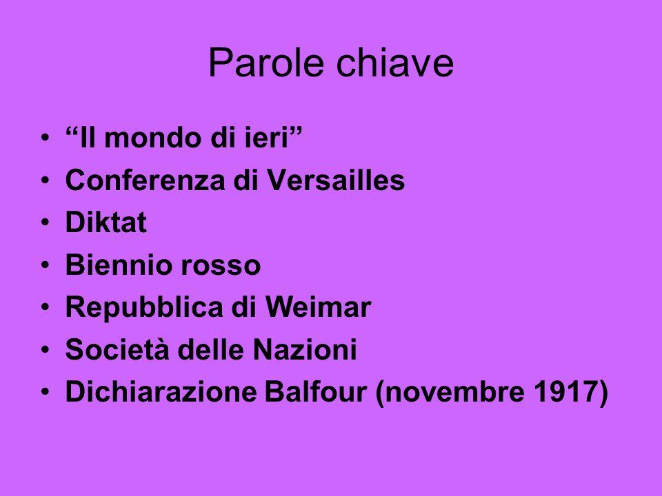 """Parole chiave """"Il mondo di ieri"""" Conferenza di Versailles Diktat Biennio rosso Repubblica di Weimar Società delle Nazioni Dichiarazione Balfour (novem"""
