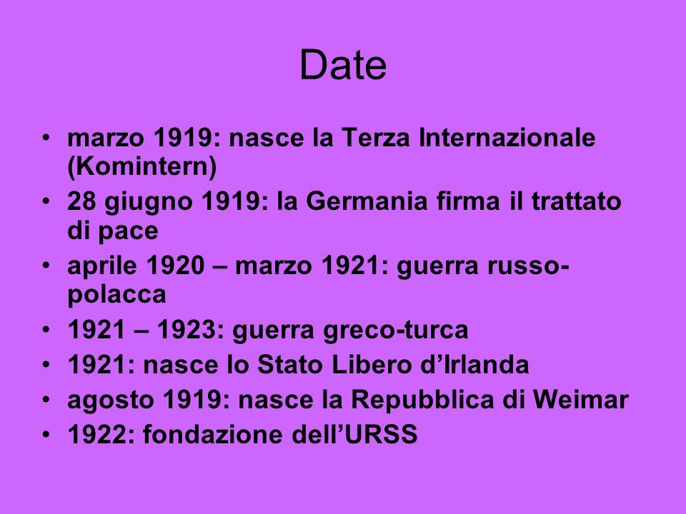 Date marzo 1919: nasce la Terza Internazionale (Komintern) 28 giugno 1919: la Germania firma il trattato di pace aprile 1920 – marzo 1921: guerra russ