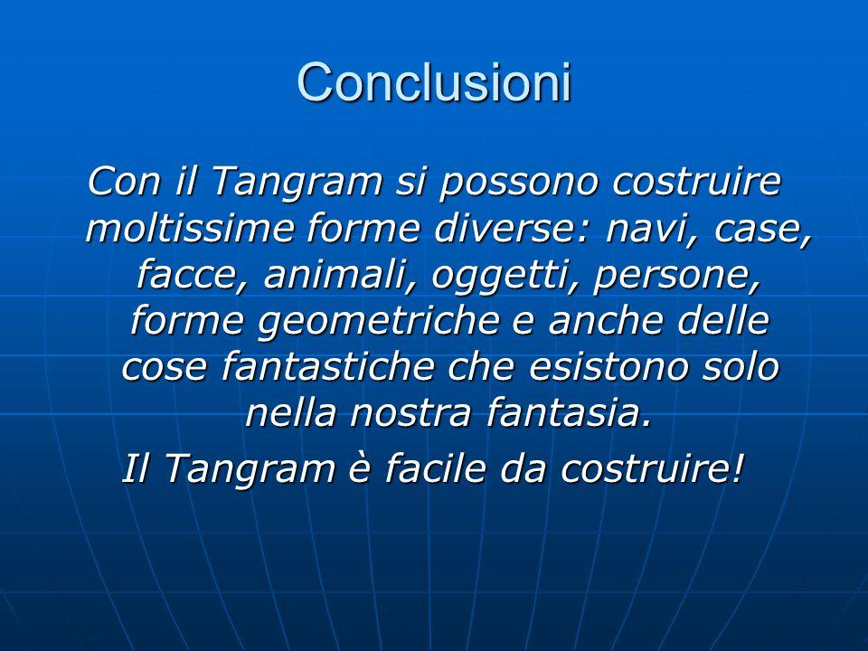 Conclusioni Con il Tangram si possono costruire moltissime forme diverse: navi, case, facce, animali, oggetti, persone, forme geometriche e anche delle cose fantastiche che esistono solo nella nostra fantasia.