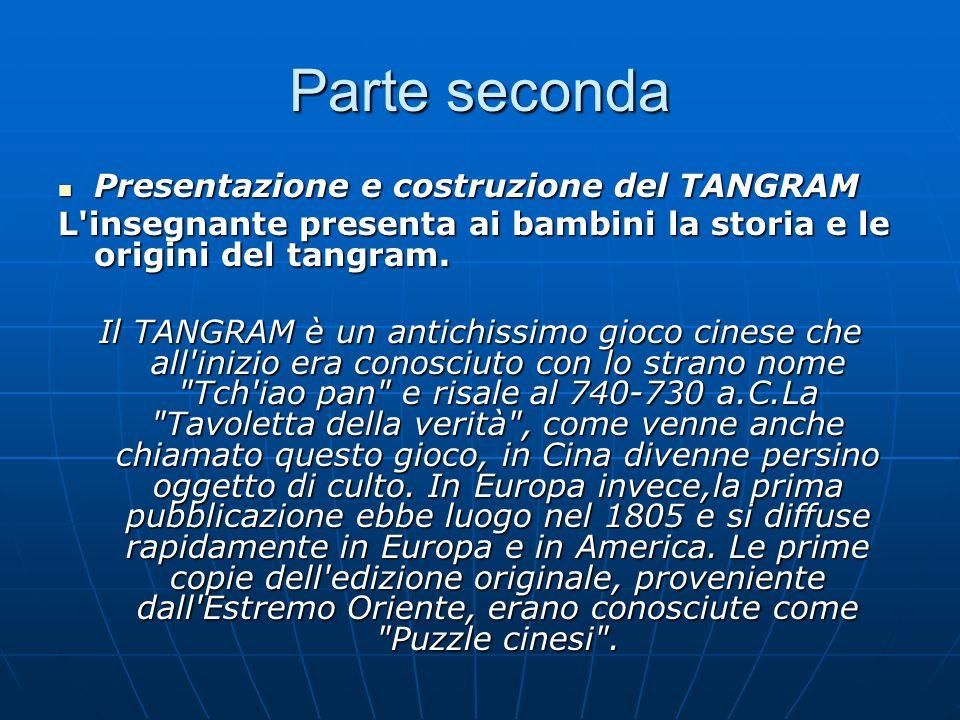 Parte seconda Presentazione e costruzione del TANGRAM Presentazione e costruzione del TANGRAM L insegnante presenta ai bambini la storia e le origini del tangram.