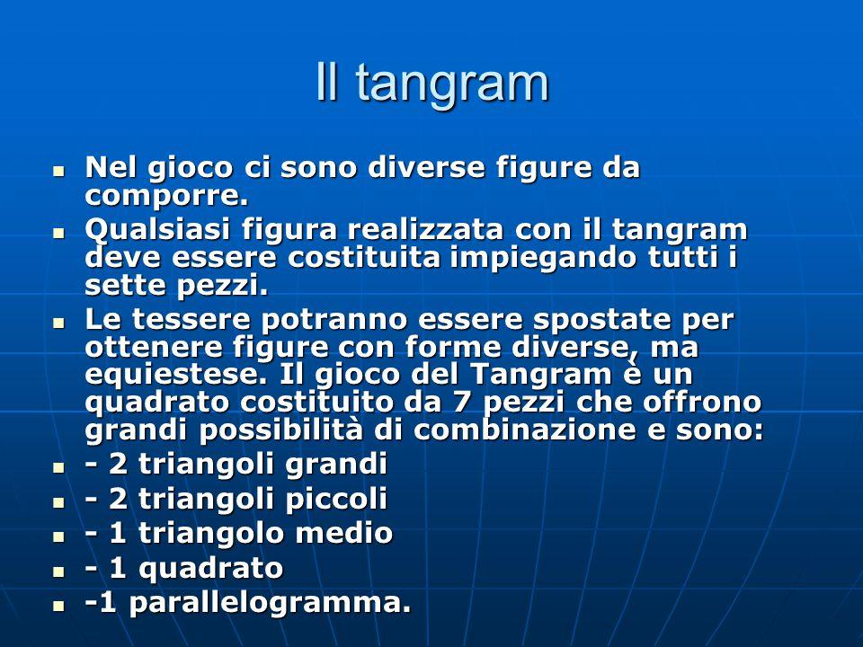 Il tangram Nel gioco ci sono diverse figure da comporre.