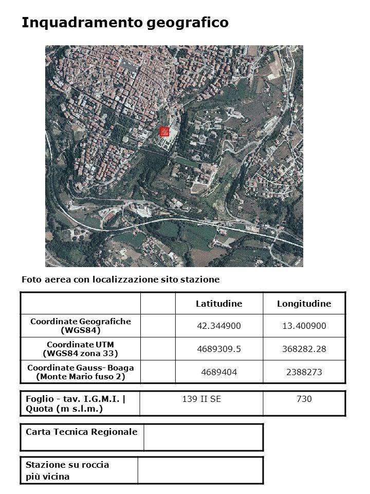 Foto aerea con localizzazione sito stazione Foglio - tav. I.G.M.I. | Quota (m s.l.m.) 139 II SE730 Inquadramento geografico LatitudineLongitudine Coor