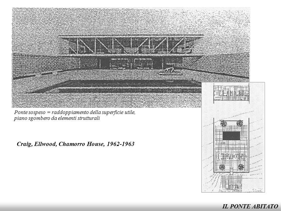 IL PONTE ABITATO Craig, Ellwood, Chamorro House, 1962-1963 Ponte sospeso = raddoppiamento della superficie utile, piano sgombero da elementi struttura