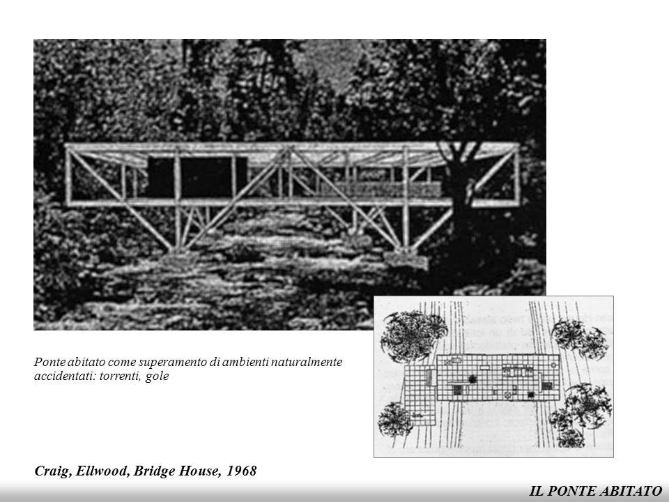 IL PONTE ABITATO Craig, Ellwood, Bridge House, 1968 Ponte abitato come superamento di ambienti naturalmente accidentati: torrenti, gole