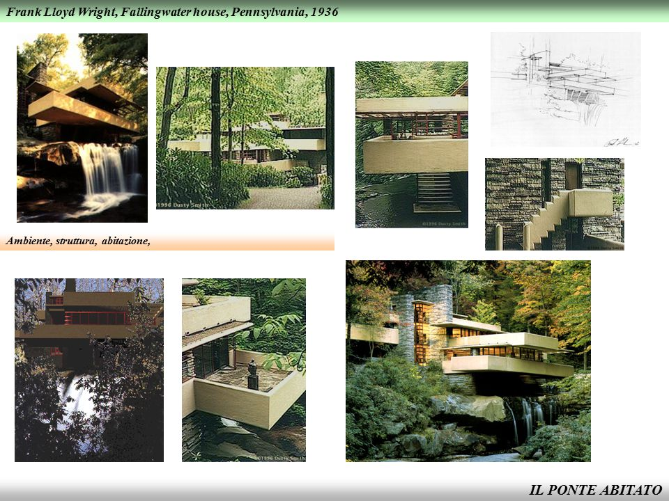 IL PONTE ABITATO Frank Lloyd Wright, Fallingwater house, Pennsylvania, 1936 Ambiente, struttura, abitazione,