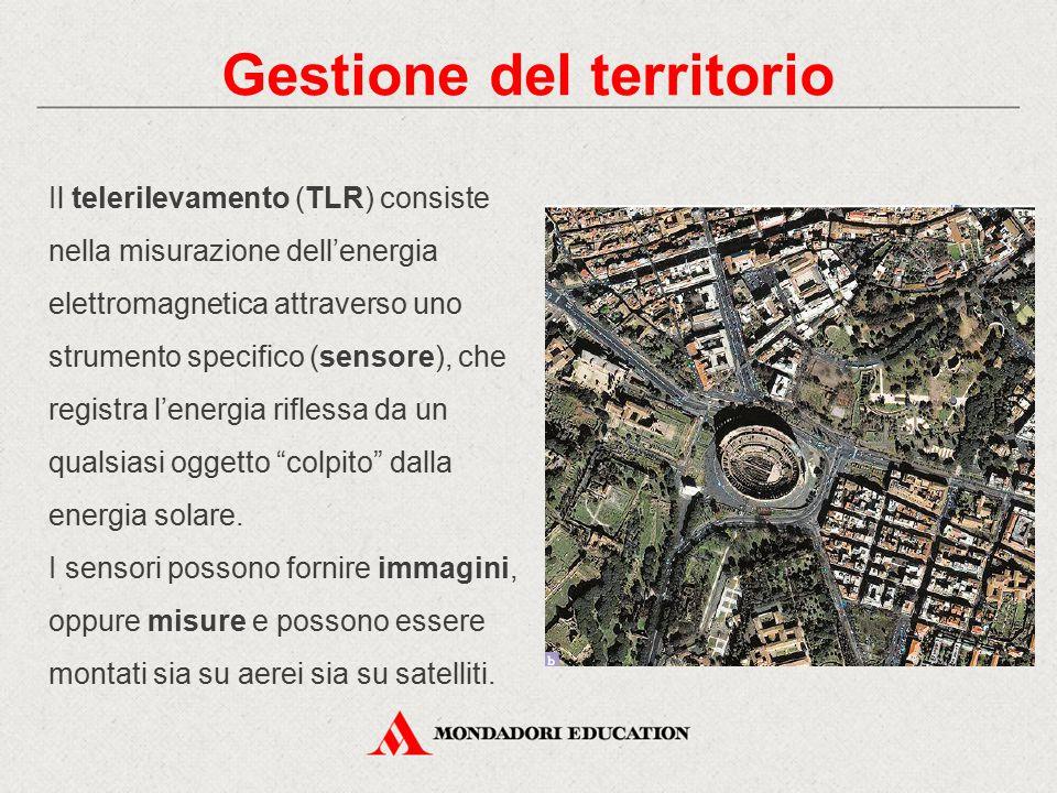 Gestione del territorio Il telerilevamento (TLR) consiste nella misurazione dell'energia elettromagnetica attraverso uno strumento specifico (sensore)