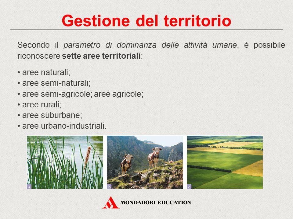Secondo il parametro di dominanza delle attività umane, è possibile riconoscere sette aree territoriali: aree naturali; aree semi-naturali; aree semi-