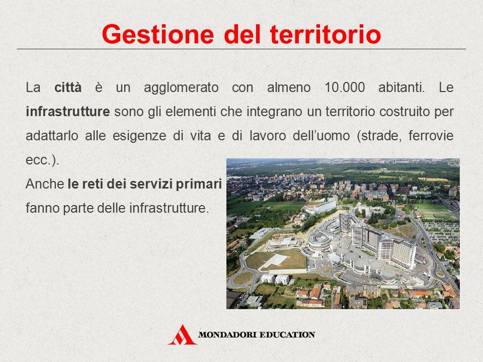 La città è un agglomerato con almeno 10.000 abitanti. Le infrastrutture sono gli elementi che integrano un territorio costruito per adattarlo alle esi