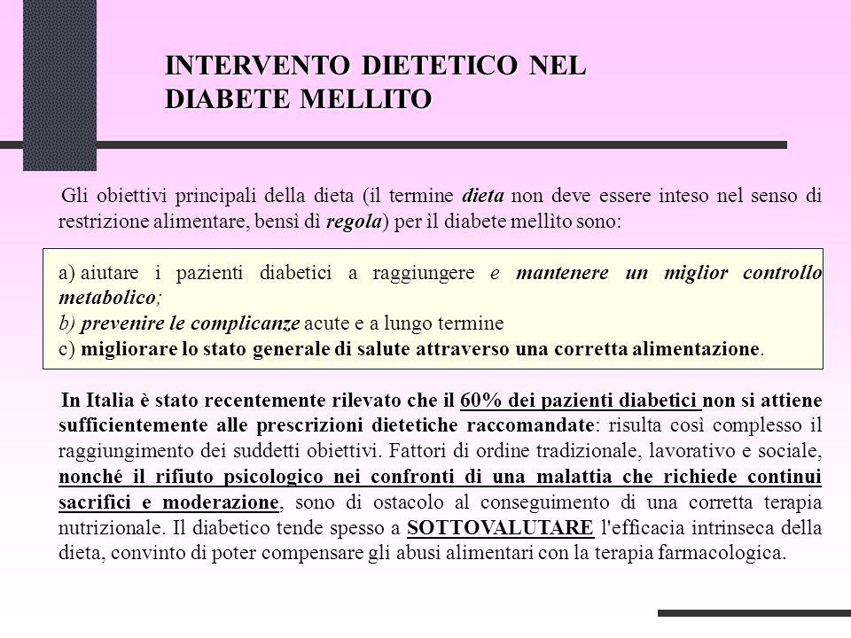 INTERVENTO DIETETICO NEL DIABETE MELLITO dieta regola Gli obiettivi principali della dieta (il termine dieta non deve essere inteso nel senso di restr